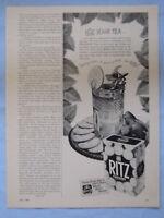 1949 Magazine Advertisement Page Nabisco Ritz Crackers Iced Tea Snack Vintage Ad