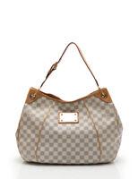 LOUIS VUITTON Galliera PM Damier Azur shoulder bag PVC leather white