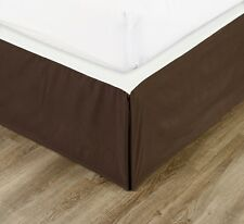 """Chezmoi Collection Solid Chocolate Brown Pleated Dust Ruffle Bed Skirt 15"""" Drop"""