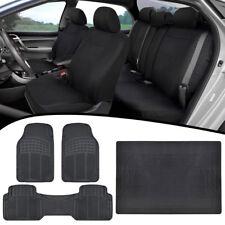 Universal Car Seat Covers + Heavy Duty Rubber Floor Mats + Cargo Liner - Black