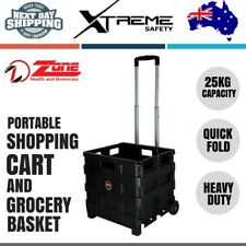 Portable Pack & Roll Folding Grocery Basket Crate Foldable Shopping Cart Trolley