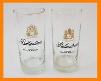 ~~VINTAGE 2X BALLANTINES SCOTCH WHISKY TALL GLASSES