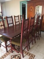 8 seater english oak dining table and chairs