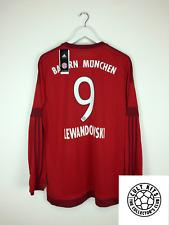 Bayern Monaco Lewandowski #9 15/16 * BNWT * L/S Calcio Casa Maglietta Jersey (XL)
