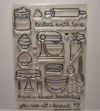 New Lawn Fawn Photopolymer Clear Stamps Baked with Love Set 24 Assorted Designs