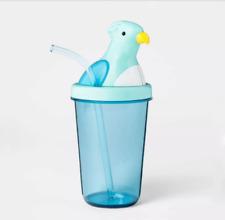 Drinkware Plastic Parrot Shaped Tumbler Lid Straw Blue Child Kids