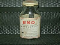 A Vintage Empty Paper Label Lithographed Steel Capped Bottle of Eno Fruit Salts