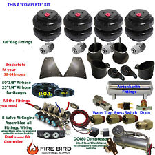 "Air Suspension Kit 3/8"" Manifold 4 Switch Pewter 1958-64 Chevy Impala 3 Gal xzx"