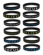 (10-Pack) Motivational Silicone Rubber Wristband Bracelets for Adults