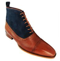Handmade Men's Brown Leather and Blue High Ankle Lace Up Boots