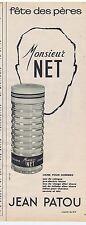 PUBLICITE ADVERTISING 104 1965 JEAN PATOU Eau de Cologne pour Homme Monsieur Net