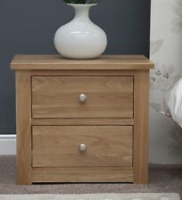 Ohio bedside cabinet narrow two drawer stand unit solid oak bedroom furniture
