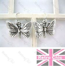 2.7cm BIG BUTTERFLY drop EARRINGS antique silver plated RETRO QUIRKY KITSCH