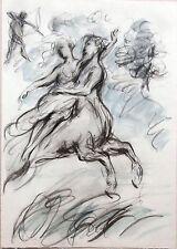 Francine Somers dessin 16,5X11,5 crayon gras et aquarelle Mythologie 13