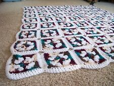 "NEW baby lap blanket throw afghan brown, burgundy green granny squares 49"" X 56"""