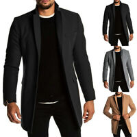 Mens Solid Chic Trench Coat Overcoat Slim Fit Long Business Work Casual M-3XL