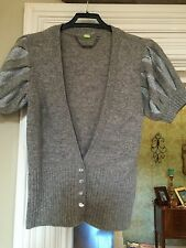 RIVER ISLAND GREY KNITTED WOOL SHORT SLEEVE FITTED CARDIGAN SIZE 8 Bnwot