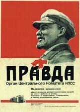 """Russian Propaganda Poster """"PRAVDA"""" Lenin Stalin Soviet Communism"""