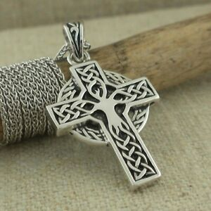 """Sterling Silver Tree of Life Celtic Cross Irish made by Shanore 18"""" Chain Boxed"""