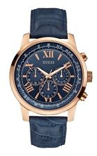 GUESS Mens Horizon Chronograph Blue Leather Strap Watch W0380G5