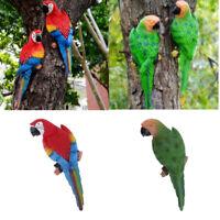 2x Parrot Statue Resin Bird Ornament Realistic Animal Decor Red Green 31cm