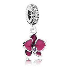 Authentic PANDORA Charm Sterling Silver 791554EN69 Dangle Enamel Purple Orchid