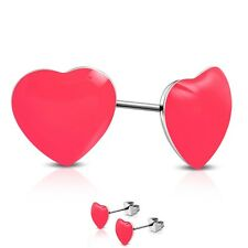 316L Surgical Stainless Steel Pink Love Heart Ear Studs Earrings