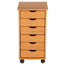 Pine Mobile Storage Cart Solid Wood Rolling File Cabinet On Wheels With 6 Drawers