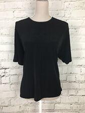 JYETTE MEILVANG Black Short Sleeve Stretch Sheer Top Womens Size M