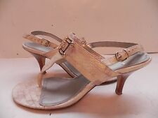 Isola~Beige Shimmer Croc print Leather Thong Sandals Heels Shoes size 9 1/2 M
