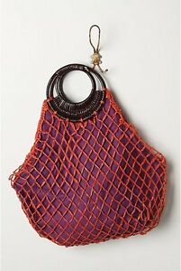 Anthropologie Handbag Fisherman's Net Tote Bag Summer Beach By Flora Bella