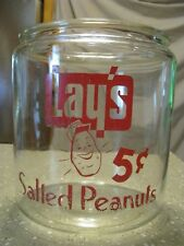 Vintage Lay's Peanuts Glass Store Counter Display Canister Jar NO LID