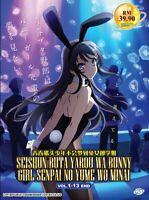 DVD Anime Rascal Does Not Dream of Bunny Girl Senpai (1-13 End) English Subtitle