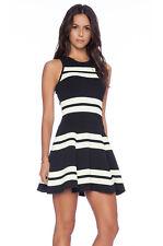 A.L.C. striped Pippa dress M Fit & Flare double knit Black Yellow
