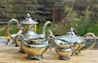 Antique Victorian Silver-Plated Ornate 4 Piece Tea Set Service