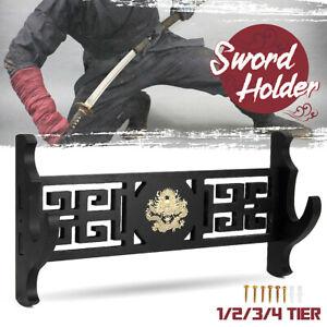 Samurai Sword Katana Stand Holder Assembled Hanger Wall Mount Rack Dragon Patten