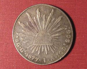 1877 Ga MEXICO SECOND REPUBLIC 8 REALES- NICE OBVERSE DETAILS, GUADALAJARA MINT!