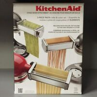 BRAND NEW KitchenAid 3 Piece Pasta Roller & Cutter Attachment Set Silver - KPRA