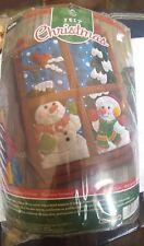 Winter Window Stamped Felt Kit, 15 in.x 21 in., Snowmen w/red bird