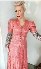 True Vintage 1930s Dusty Pink Brocade Gown Pinup