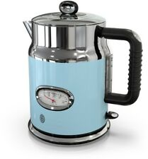 5-Cup Premium Electric Glass Kettle Water Temperature Gauge Blue/Stainless Steel