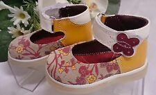 BABY Mädchen Festliche Kinder Schuhe MADE IN ITALY Gr 25 Gelb LEDER Blume Rot