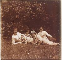 Snapshot Amateur Vita Famille Francia Foto Placca Da Lente Stereo Vintage LE1