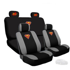 New Superman Car Seat Cover with Classic POW Logo Headrest Cover for Kia