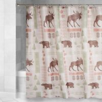 Moose Bear Fabric Shower Curtain Cabin Wilderness Lodge Forest New