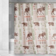 Moose Bear Fabric Shower Curtain Cabin Wilderness Lodge Forest 72L x 70W