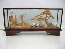 VINTAGE ORIENTAL CHINESE CORK CARVED SCULPTURE IN GLASS CASE