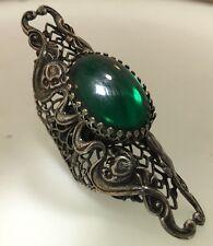 New 1960's Green Glass  Stone Silver Tone DESIGNER Kim Craftsmen Ring