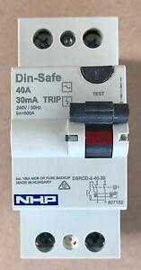 NHP Din-Safe SAFETY SWITCH 2P 40A 30mA TYPE AC   DSRCD-2-40-30