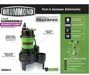 Drummond 1/2 HP Submersible Sewage Pump W/ Tether Switch **NEW FACTORY SEALED**